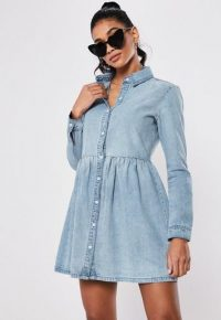 Missguided blue denim smock dress | shirt dresses