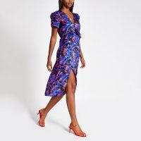 River Island Blue print puff sleeve midi dress | vintage style summer fashion