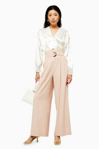 Topshop Blush Twill Wide Leg Trousers | high waist belted pants