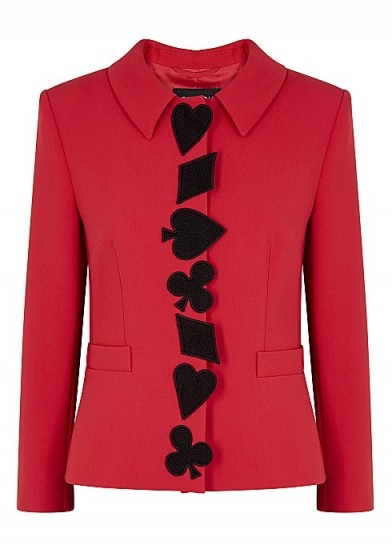 BOUTIQUE MOSCHINO Red appliquéd jacket ~ stylish jackets