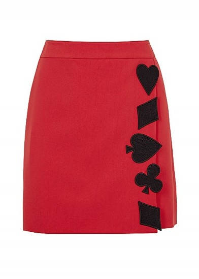 BOUTIQUE MOSCHINO Red appliquéd mini skirt ~ wrap effect skirts