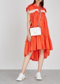 BRØGGER Amalie ruffle-trimmed orange taffeta shirt dress