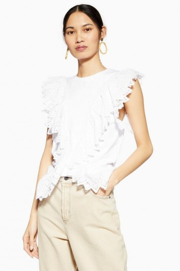 Topshop Broderie Front Tank in White