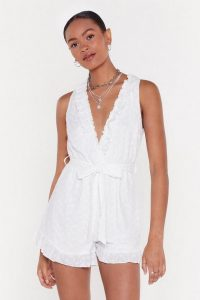 Nasty Gal Broderie Plunge Ruffle Romper in White