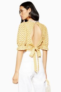 Topshop Broderie Tie Back Top in Ochre and Cream | summer tops