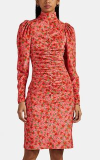 BROGGER Thora Ruched Floral Velvet Dress in Ruby / red gathered high neck dresses