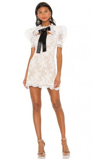 Bronx and Banco Valentina Bow Dress White & Black – all over lace mini with padded shoulders and open back detail - flipped