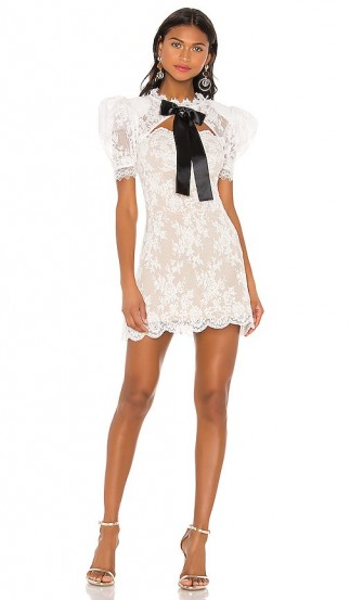 Bronx and Banco Valentina Bow Dress White & Black – all over lace mini with padded shoulders and open back detail