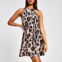 RIVER ISLAND Brown leopard print swing dress