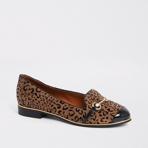 RIVER ISLAND Brown leopard print wide fit loafers – glamorous flats - flipped