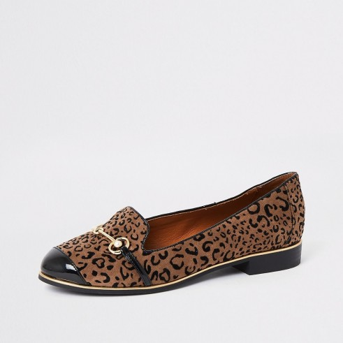 RIVER ISLAND Brown leopard print wide fit loafers – glamorous flats