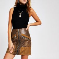 RIVER ISLAND Brown snake print faux leather mini skirt