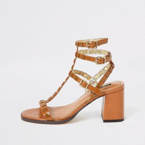 RIVER ISLAND Brown studded gladiator block heel sandals