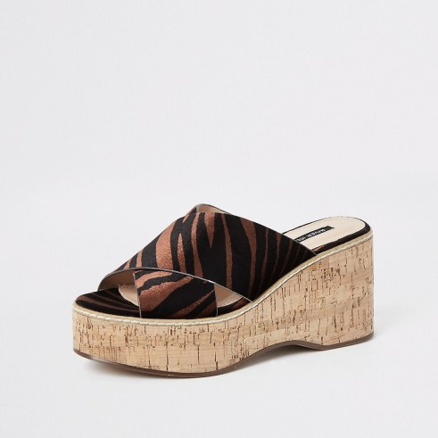 River Island Brown velvet zebra print wedges | animal striped mules