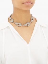 JIL SANDER Bubbled chain-link necklace ~ silver-tone chunky jewellery