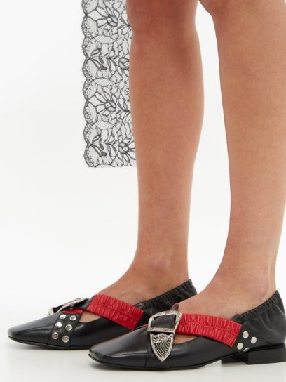 TOGA Buckled square-toe leather pumps ~ black buckled cross strap flats