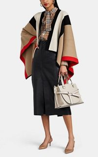 BURBERRY Heritage-Striped Wool-Cashmere Cape in Beige / Multi ~ chic designer capes