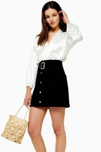 Topshop Button Down Belted Denim Skirt in Washed Black | A-line mini