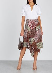 BY MALENE BIRGER Dharma printed satin midi skirt ~ draped asymmetric hemline skirts