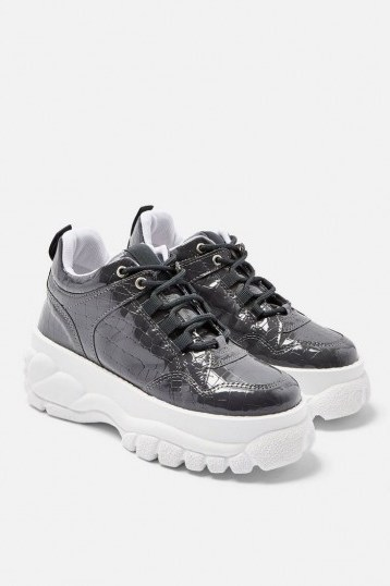 TOPSHOP CAIRO Chunky Trainers Grey. CROC PRINTS - flipped