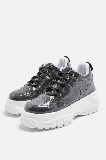 TOPSHOP CAIRO Chunky Trainers Grey. CROC PRINTS