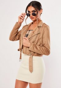 MISSGUIDED camel crop suedette biker jacket