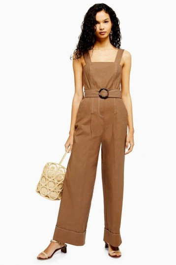 TOPSHOP Camel Topstitch Utility Jumpsuit – brown summer jumpsuits