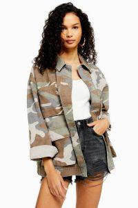 TOPSHOP Camouflage Longline Shacket Khaki