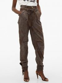 RE/DONE ORIGINALS Camouflage-print crystal-stud paperbag jeans in khaki-grey ~ embellished denim