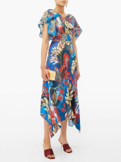 PETER PILOTTO Cape-sleeve blue floral-print silk midi dress ~ evening event clothing