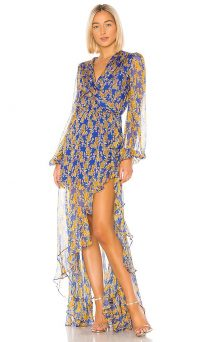 Caroline Constas Liv Dress in Blue and Yellow ~ feminine event gown