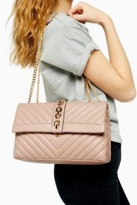 Topshop CASEY Nude Quilted Shoulder Bag | chain strap flap bags