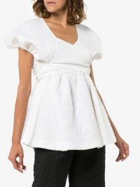 Cecilie Bahnsen Angie Puff Sleeve Blouse in White | pretty open back blouses