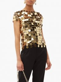 PACO RABANNE Chainmail gold sequin top ~ evening glamour