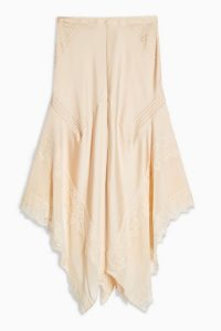 Topshop Champagne Lace Pintuck Midi Skirt