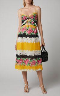 Rachel Comey Chernist Cutout Floral-Print Cotton-Voile Midi Dress ~ multicoloured skinny strap sundress