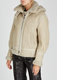 CHLOÉ Cream logo-print shearling jacket | luxe jackets with style
