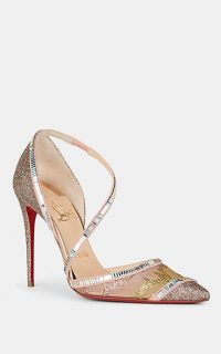 CHRISTIAN LOUBOUTIN Chiara Mesh & Glitter Pumps in Beige / Multi / glittering stiletto heel shoes