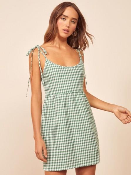 Reformation Christie Dress Palms | green gingham summer frock