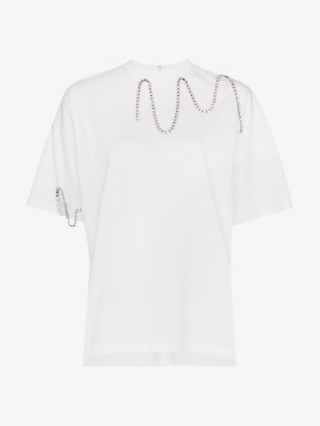 Christopher Kane White Squiggle Cupchain Diamante Chain T-Shirt ~ embellished tee