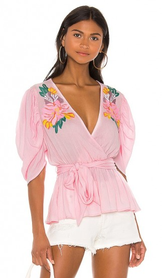 Cleobella Sienna Blouse Pink / floral embroidered ruched sleeve blouses