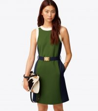 TORY BURCH COLOR-BLOCK PONTE DRESS in Equestrian Green