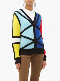 CHARLES JEFFREY LOVERBOY Colour-blocked merino wool cardigan ~ multicoloured cardigans