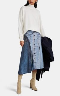 COLOVOS Denim-Print Silk Asymmetric Midi-Skirt ~ trompe l'oeil prints