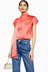 Topshop Coral Drape Blouse | bright high neck blouses
