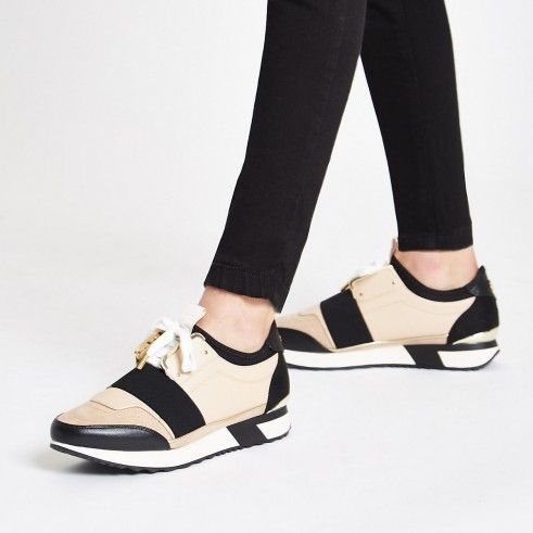 River Island Cream elasticated lace-up runner trainers