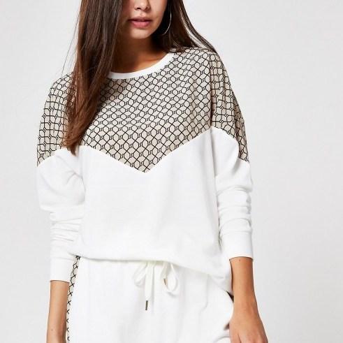 RIVER ISLAND Cream RI chevron sweatshirt ~ sports luxe sweat top - flipped
