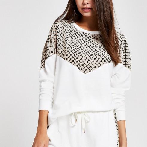 RIVER ISLAND Cream RI chevron sweatshirt ~ sports luxe sweat top