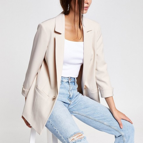 RIVER ISLAND Cream turn up sleeve blazer ~ smart summer jackets