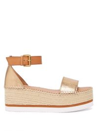 SEE BY CHLOÉ Crinkle-effect metallic-leather flatform espadrilles ~ luxe summer sandals